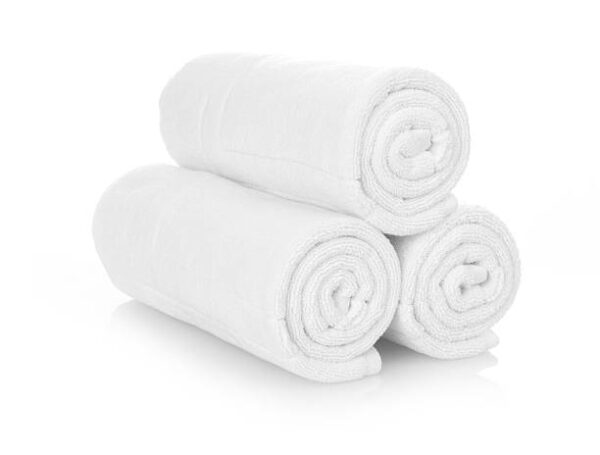 Clean white towels isolated on white